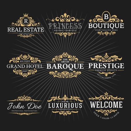 Vintage Royal Flourish Frame Logo Decorative Design for Banner, Sticker, Label, Tags, Invitation. Vector illustration