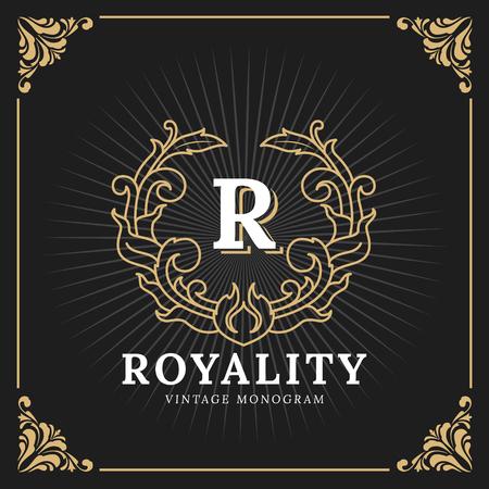 Vintage Luxury Monogram Logo Template for Banner, Label, Frame, Product Tags. Retro Emblem Design. Vector illustration