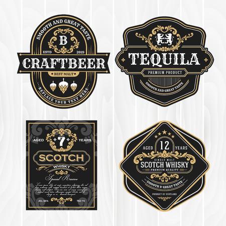 Cadre vintage classique pour étiquettes, bannières et autres motifs. Convient pour le whisky, la bière et les produits haut de gamme.