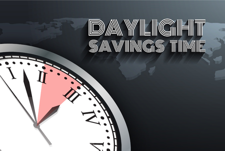 Banner for change your clocks message for Daylight Saving Time on world map. Vector illustration