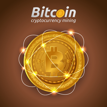 Golden Bitcoin in shining light effect on dark background. Blockchain technology for cryptocurrency. Letter B coins vector illustration