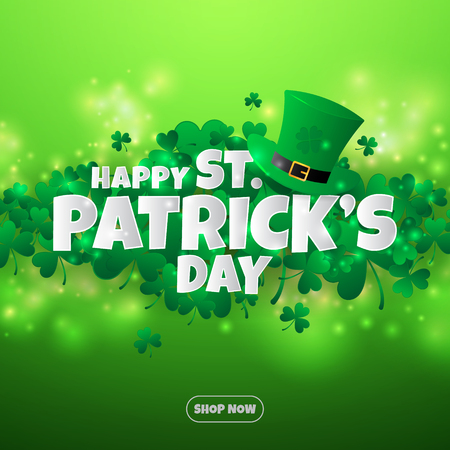 Realistic paper cut out St. Patrick's day background and banner.  イラスト・ベクター素材