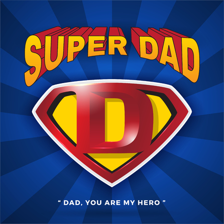 Super Dad Logo Design For Father's Day. Letter D logo in Diamond Shape.Vector illustration