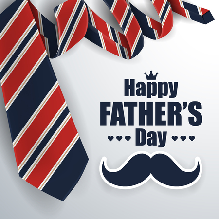 Fathers Day Greeting Card Background Design with Necktie. Vector illustration