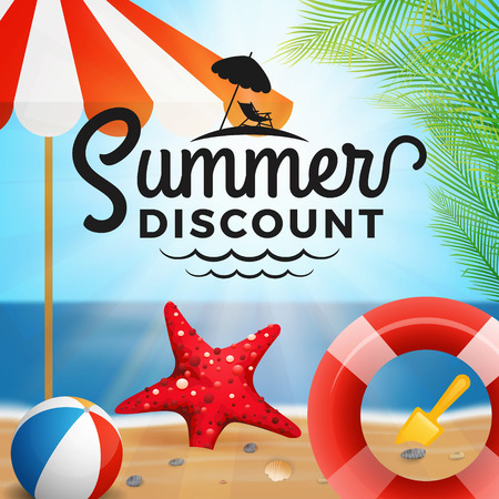 Summer discount typography and holiday background with design elements vector illustration.