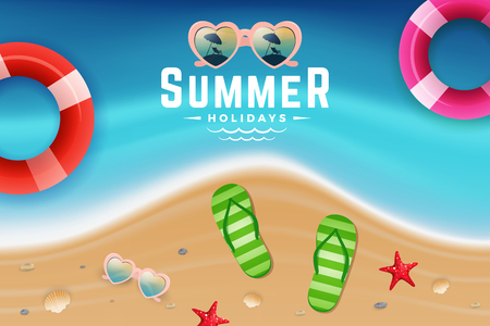 Sand and sea water top view scene for summer holiday background design with sunglasses and lifebuoy vector illustration. Çizim