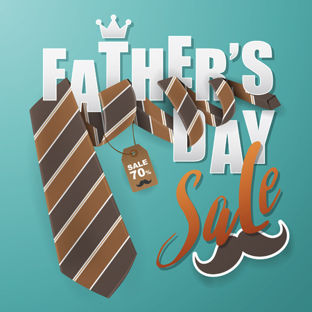 Father's Day greeting card background design with necktie vector illustration.