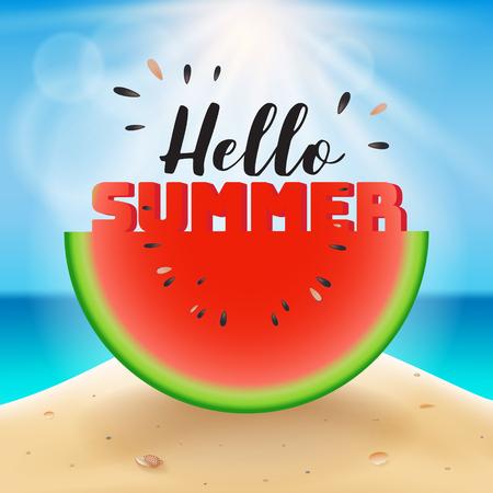 Hallo Sommer-Schriftzug auf Wassermelone geschnitten . Vektor-Illustration