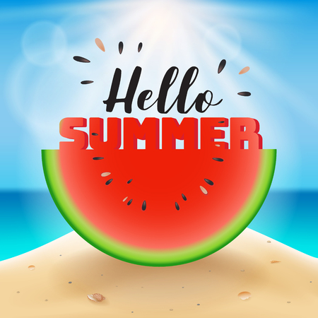 Hello summer lettering on watermelon sliced. Vector illustration