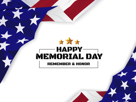 Happy Memorial Day Background. USA Flag Banner with Copy Space. Vector illustration