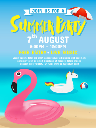Summer party invitation flyer background template design vector illustration. Stock Illustratie