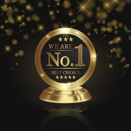 We are number 1 golden trophy award on shiny star and dark background Illustration