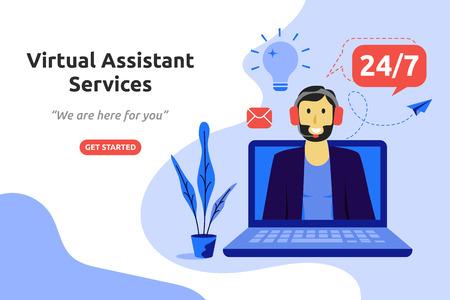Koncepcja usług wirtualnego asystenta online nowoczesny projekt płaski. Ilustracja wektorowa