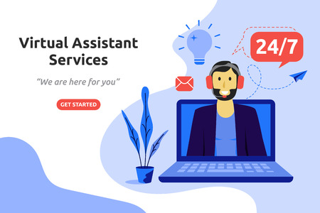 Online virtuele assistent services concept modern plat ontwerp. vector illustratie