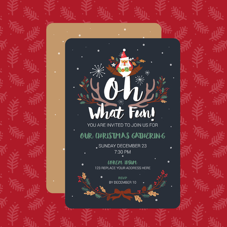 Oh What Fun Christmas Party Invitation Card Template. Vector Illustration Illustration