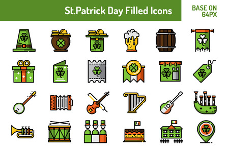 St.Patricks Day icon set. Outline icon base on 64 pixel with pixel perfect design. Vector illustration