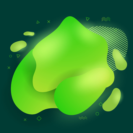 Abstract modern flowing liquid shapes design elements. Dynamical bright green gradient colored banner