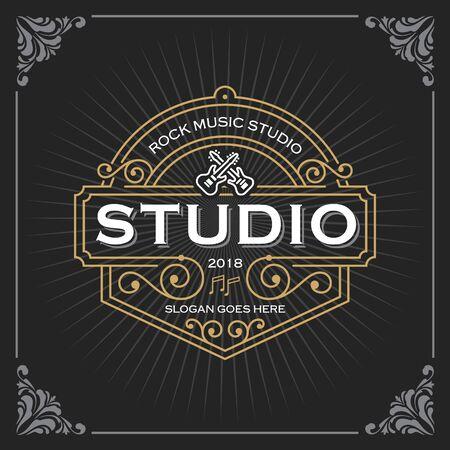 Logotipo de estudio de música. Diseño de plantilla de banner de lujo vintage para etiqueta, marco, etiquetas de producto. Diseño de emblema retro. Ilustración vectorial