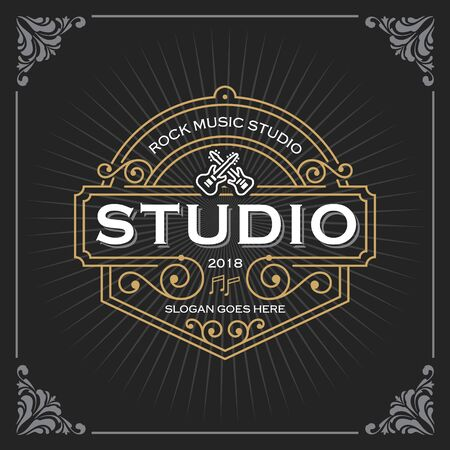 Muziekstudio-logo. Vintage luxe sjabloon voor spandoekontwerp voor label, frame, producttags. Retro embleemontwerp. vector illustratie