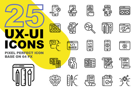 UX UI Application outline icons set base on 64px, Pixel perfect alignment process icon.