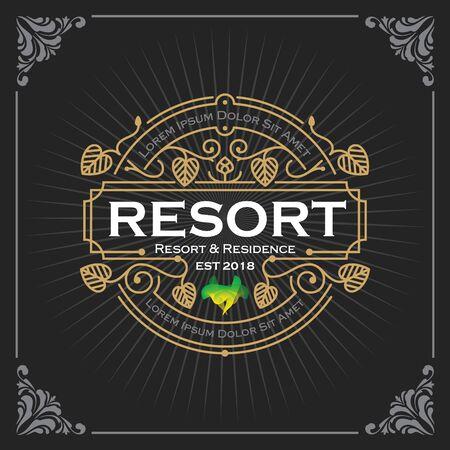 Resort and residence logo. Vintage Luxury Banner Template Design for Label, Frame, Product Tags. Retro Emblem Design. Vector illustration