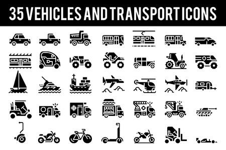 35 Icone e simboli solidi del veicolo e del trasporto. Pixel Perfect Icon Base su 64px