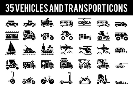 35 Vehicle and transport solid icons sign and symbols. Pixel perfect icon base on 64px