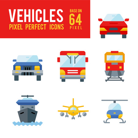Vehicle and Transport Flat Icon. Pixel Perfect Icon Base on 64px Illustration