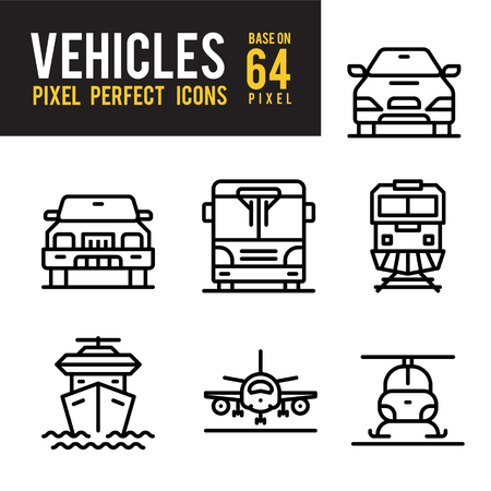 Vehicle and Transport Outline Icon. Pixel Perfect Icon Base on 64px Illustration