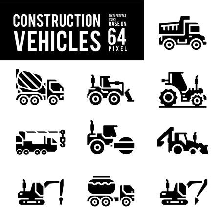 Construction Vehicle and Transport Glyph and Solid Icons. Pixel Perfect Icon Base on 64px.