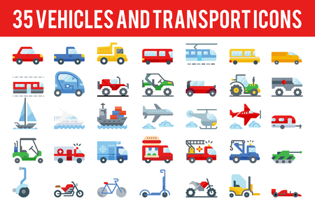 35 Vehicle and transport flat icons sign and symbols. Pixel perfect icon base on 64px