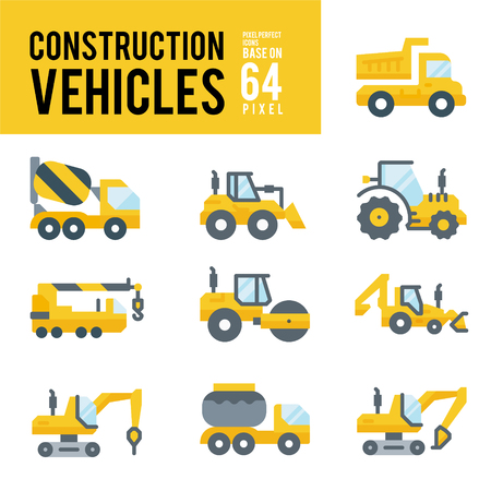 Construction Vehicle and Transport Flat Icons. Pixel Perfect Icon Base on 64px.