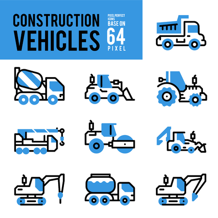 Construction Vehicle and Transport Monocolor Icons. Pixel Perfect Icon Base on 64px. 일러스트