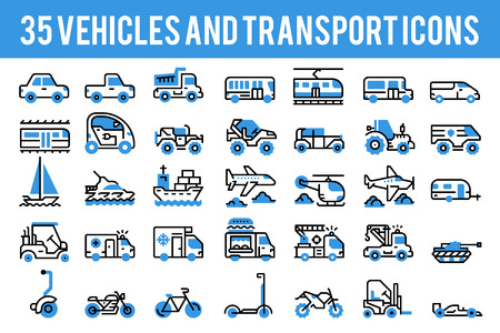 35 Vehicle and transport monocolor icons sign and symbols. Pixel perfect icon base on 64px