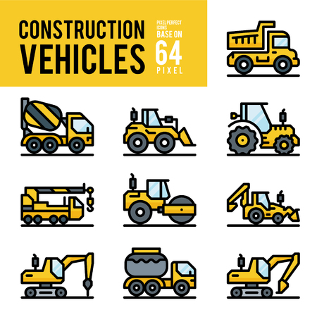 Construction Vehicle and Transport Outline Color Icons. Pixel Perfect Icon Base on 64px.