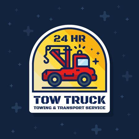 Tow truck badge banner. Towing and transport service sticker design. Vector illustration Illustration