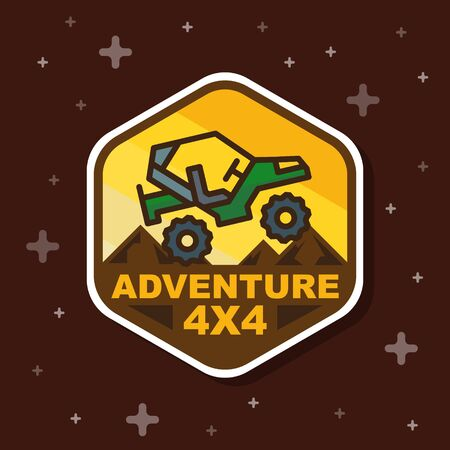 Off road 3x3 adventure badge banner. Vector illustration