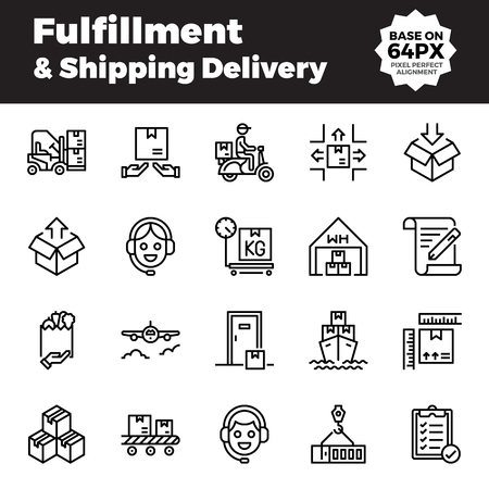 Fulfillment and shipping delivery outline icons. Base on 64px with pixel perfect alignment. Illustration
