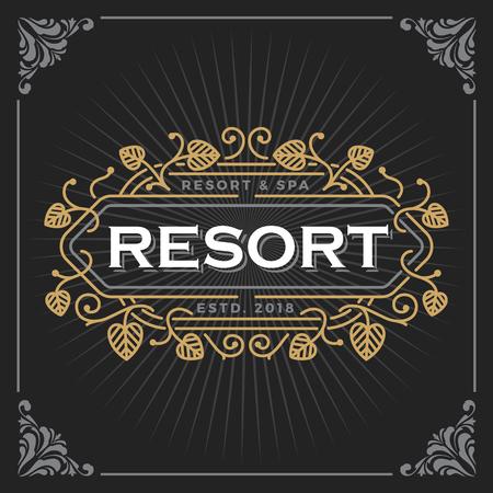 Resort and spa logo. Vintage Luxury Banner Template Design for Label, Frame, Product Tags. Retro Emblem Design. Vector illustration Illustration