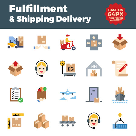 Fulfillment and shipping delivery flat icons. Base on 64px with pixel perfect alignment. Illustration
