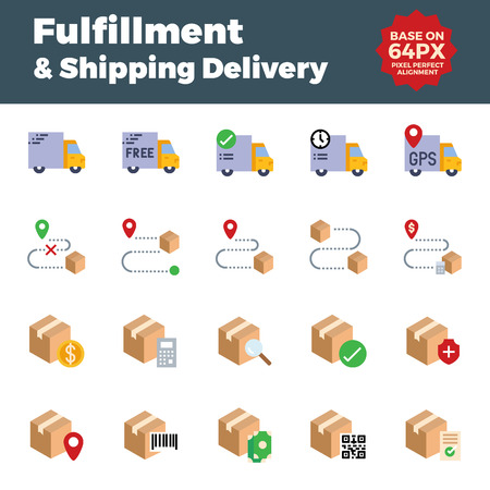 Fulfillment and shipping delivery flat icons. Base on 64px with pixel perfect alignment. Ilustração