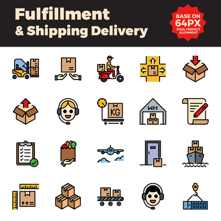 Fulfillment and shipping delivery filled outline icons. Base on 64px with pixel perfect alignment.