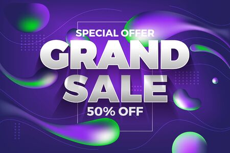 Special offer grand sale banner and back ground. Abstract purple liquid background. Vector illustration