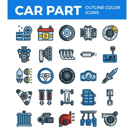 Vehicle and car parts outline color icons. Pixel perfect alignment icons. Vector illustration