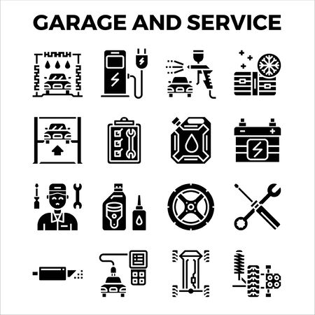 Automotive garage and service solid icon collection. pixel perfect alignment icon. Vector illustration Vectores