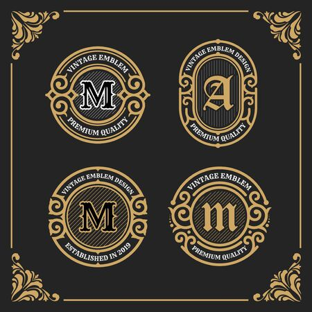Vintage Luxury Banner Template Design for Label, Frame, Product Tags. Retro Emblem Design. Vector illustration Çizim