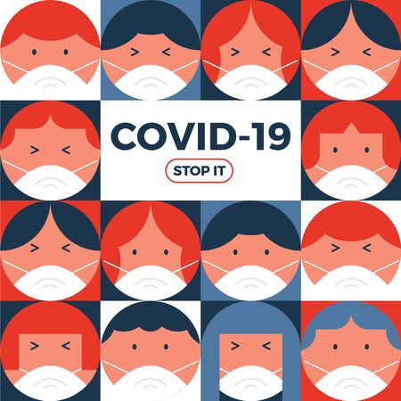 Crowd of people wearing face mask defend from virus or Covid-19. Vector illustration background. Illustration