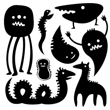 Monster Silhouettes Vector