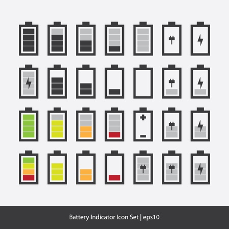 Battery Indicator Icon Set Vector