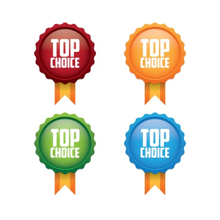 champion: Colorful Top Choice Labels Illustration